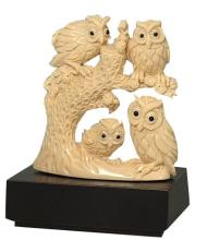 Mammoth Ivory Handcrafted Owl Family On Tree Carving