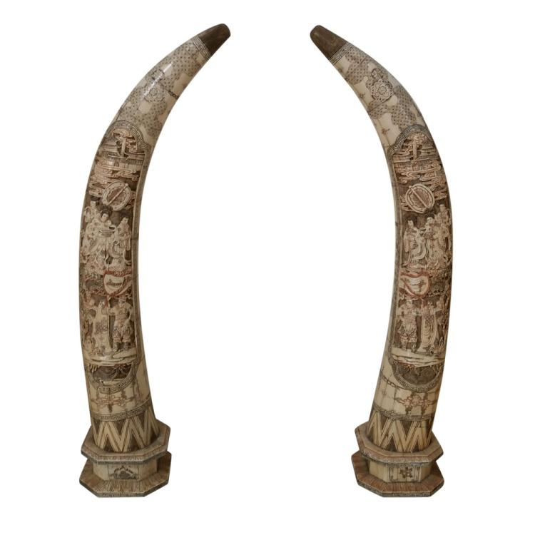 Pair of big bone carvings tusks