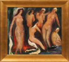 Painting of a Bathers, Janis Ferdinands Tidemanis (1897-1964), Latvia, First half of 20th century