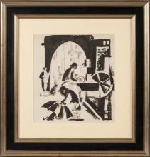 Ink painting 'Figurative composition', Aleksandra Belcova (1892-1981), Latvia, 20th century 20's