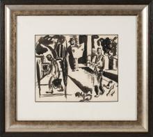 Ink painting 'Street in South France', Aleksandra Belcova (1892-1981), Latvia, 20th century 20's