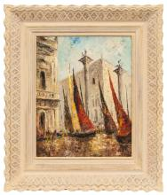 Oil painting 'Venice - pink sails at the Doge's Palace', Ludolfs Liberts (1895-1959), Latvia, Second half of 20th century
