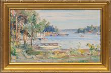 Oil painting 'Landscape of the Finland', Janis Rozentals (1866-1916), Latvia, Beginning of 20th century