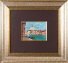 Oil painting 'Venice', Eduards Kalnins (1904-1988), Latvia, Middle of 20th century
