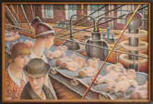 Oil painting 'At the conveyor belt', Auseklis Bauskenieks (1910-2007, Latvia, 21st century