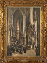 Oil painting 'St. Stephen's Cathedral', Ludolfs Liberts (1895-1959), Latvia, Beginning of 20th century