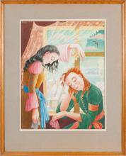 Watercolor painting 'Friends', Hilda Vika (1897-1963), Latvia, 20th century 30's