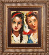Oil painting 'Double portrait', Janis Ferdinands Tidemanis (1897-1964), Latvia, Second half of 20th century
