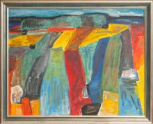 Oil painting 'Furrows', Leonids Arins (1907-1991), Latvia, Second half of 20th century