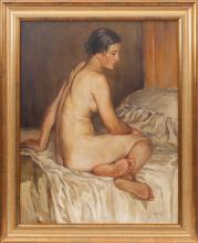 Oil painting 'Act', Indrikis Zeberins (1882-1969), Latvia, First half of 20th century