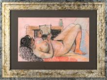 Paster drawing Act with a book, Aleksandra Belcova (1892-1981), Latvia, 20th century 70's