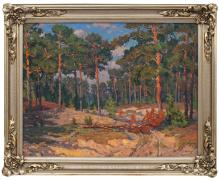 Oil painting 'Pine forest' Jekabs Apinis (1899-1945), Latvia, 20th century 30's