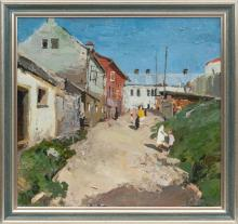 Oil painting 'Small town' Bruno Celmins (1927-1992), Latvia, 20th century 70's