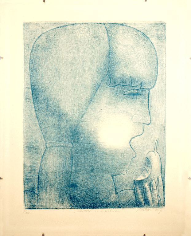 Etching 'Girl with pears' Boriss Berzins (1930-2002), Latvia, End of 20th century