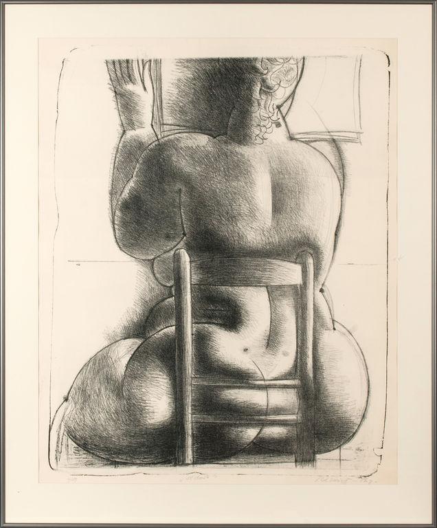 Etching 'Sitting' Boriss Berzins (1930-2002), Latvia, End of 20th century