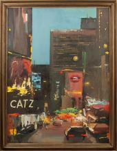 Oil painting 'New York' Bruno Celmins (1927-1992), Latvia, End of 20th century