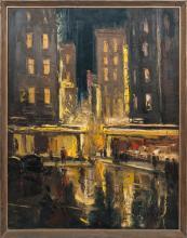 Oil painting 'City at the night' Laimonis Kupcis (1928-1976), Latvia, Second half of 20th century
