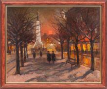 Oil painting 'The freedom Monument' Nikolajs Kulainis (1901-1975), Latvia, 20th century 40's