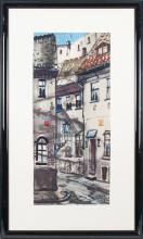 Watercolor painting 'Old town of Riga' Janis Brekte (1920-1985), Latvia, of 20th century