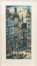 Watercolor painting 'Theatre Square in Riga' Janis Brekte (1920-1985), Latvia, End of 20th century