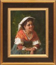Oil painting 'Portrait of the girl' by Aleksandr Rizzoni (1836-1902), 19th century 70's