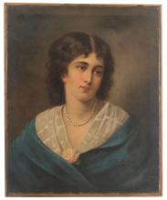 Oil painting 'Women portrait' by Aleksandr Rizzoni (1836-1902), 19th century 70's