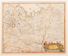 Colored engraving - Map 'Russia vulgo Moscovia' Frederick de Wit. Amsterdam, Holland, Second half of 20th century