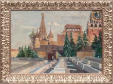 Oil painting 'Red Square - Kremlin' by Boriss Popovs (1909-2001), middle of 20th century
