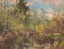 Oil painting 'Summer landscape with river' Vitalijs Kalvans (1909-1965), Latvia, Middle of 20th century