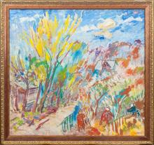Oil painting 'Gardens' Hermanis Doncovs (1916-2001), Latvia, Second half of 20th century