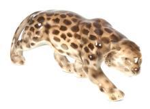 Faience figure 'Leopard', 1937-1940, Kuznetsov factory, Latvia