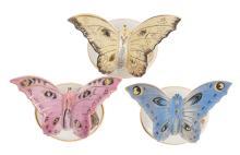 Porcelain figurines 'Butterfly' (3 pcs.), Riga porcelain factory, Latvia