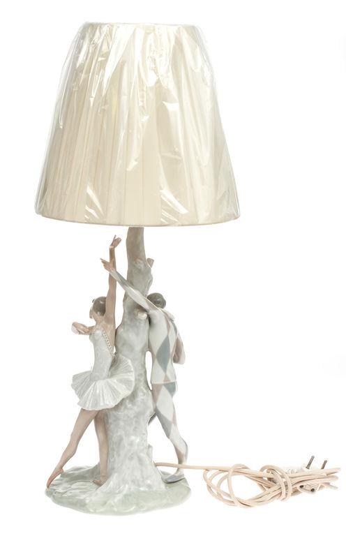 Table lamp 'Ballerina with Arlekino', Lladro porcelain