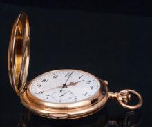 Golden pocket watch 'Repetition quarts' made from 14 K gold, by Repetition quarts, Switzerland.