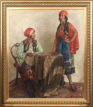 Oil painting Gypsy women's Janis Zvirbulis (1905-1964), Latvia, 20th century 30's