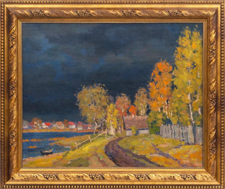 Oil painting 'After the storm' Jekabs Apinis (1899-1945), Latvia, 20th century 30's