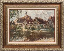 Oil painting 'Bad Wimpfen (city in the Germany)' by Janis Gailis (1903-1975), Latvia, 20th century 40's