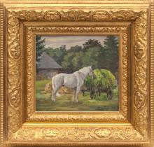 Oil painting 'Horse' by Janis Rozentals (1866-1916)