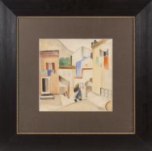 Watercolor painting 'Yard in Vansa' by Aleksandra Belcova (1892-1981)