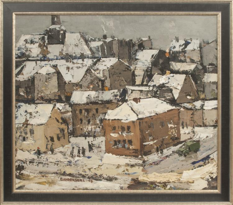 Oil painting 'Old city of Riga in winter' by Edvins Andersons (1929-1996)