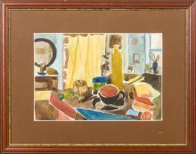 Still life in the interior; Aleksandra Belcova (1892-1981)