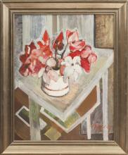 Still life with alpine violets; Aleksandra Belcova (1892-1981)