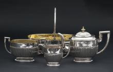 Silver set (4 items) made from 84 and 875 purity silver