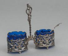 Silver spice jar with glass, Europe, first half of 20th century