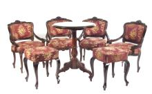Rococo style Mahagony furniture set (4 chairs and 2 puffs)