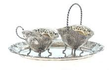 Baroque style silver utensil set - tray; sugar-basin; cream utensil