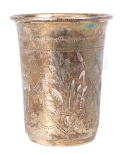 Silver glass with gilding made from 84 purity silver, Russia
