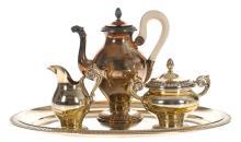 Gilded silver set - coffee pot; cream bowl; sugar-basin and tray