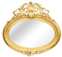 Antique Mirror made from wood, gypsum and gilding, Europe