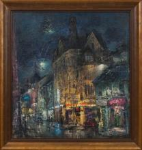 Oil painting of Riga in the night, 1990's